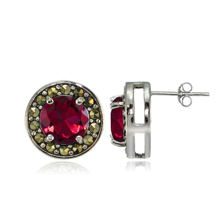 Sterling Silver Created Ruby and Marcasite Halo Stud Earrings