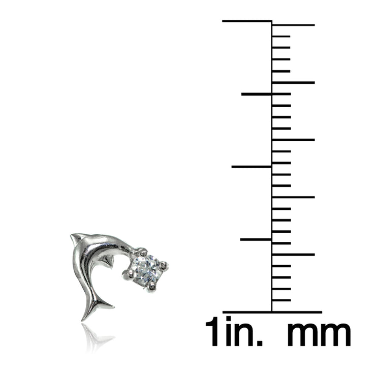 Sterling Silver Cubic Zirconia Dolphin Stud Earrings