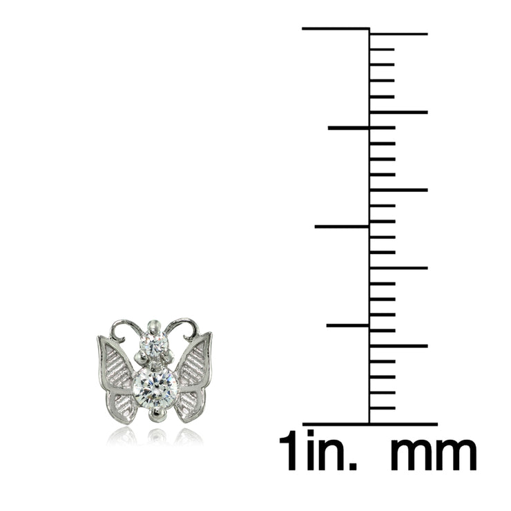 Sterling Silver Cubic Zirconia Butterfly Mini Stud Earrings