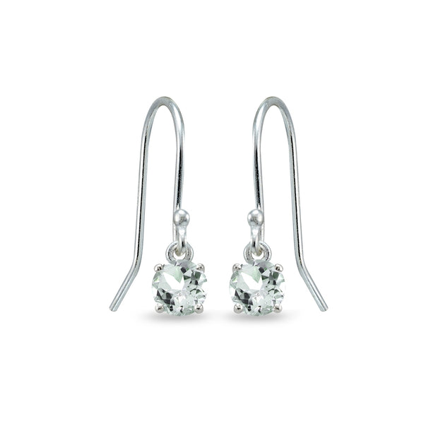 Sterling Silver Aquamarine 5mm Round Small Solitaire Dangle Earrings