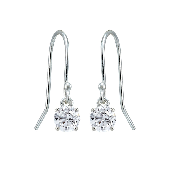 Sterling Silver Created White Sapphire 5mm Round Small Solitaire Dangle Earrings