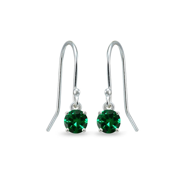 Sterling Silver Simulated Emerald 5mm Round Small Solitaire Dangle Earrings