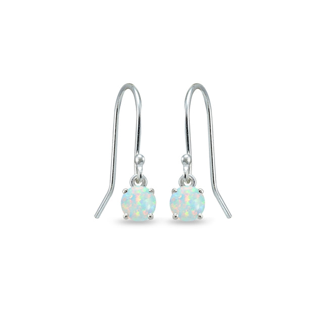 Sterling Silver Created White Opal 5mm Round Small Solitaire Dangle Earrings
