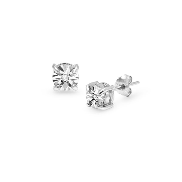Sterling Silver Illusion-Set Diamond Accent Round Stud Earrings, JK-I3