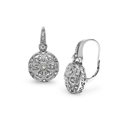 Sterling Silver Round Filigree Diamond Accent Leverback Drop Earrings, JK-I3
