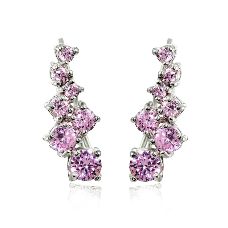 Sterling Silver Light Pink Cubic Zirconia Graduating Climber Crawler Earrings
