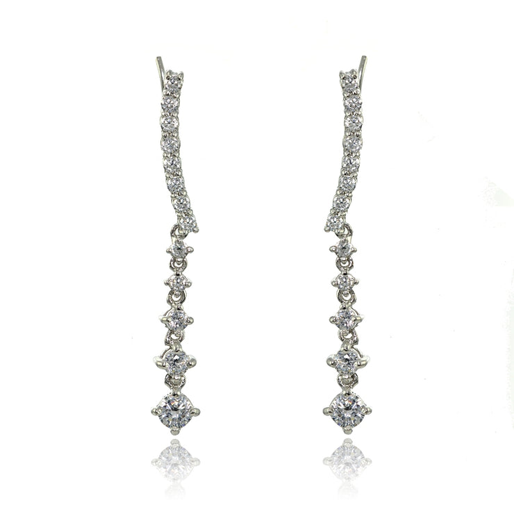 Sterling Silver Round Cubic Zirconia Climber Crawler Dangle Earrings