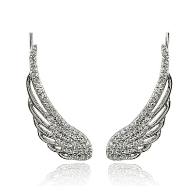 Sterling Silver Cubic Zirconia Angel Wings Climber Crawler Earrings