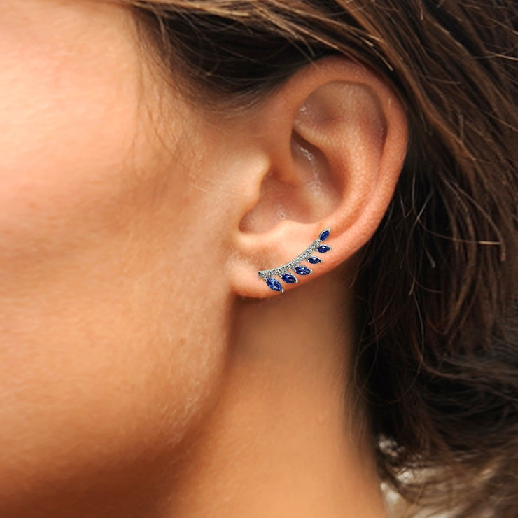 Sterling Silver Created Tanzanite and Cubic Zirconia Leaf Climber Crawler Earrings