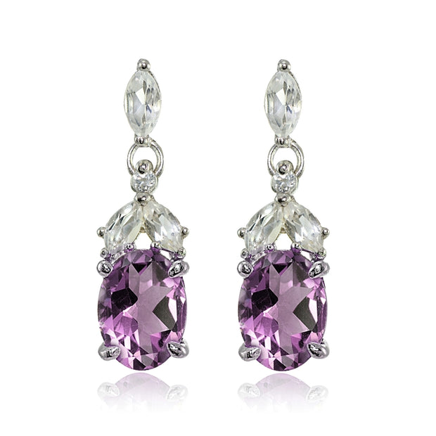 Sterling Silver Created Alexandrite and Cubic Zirconia Oval Dangle Earrings