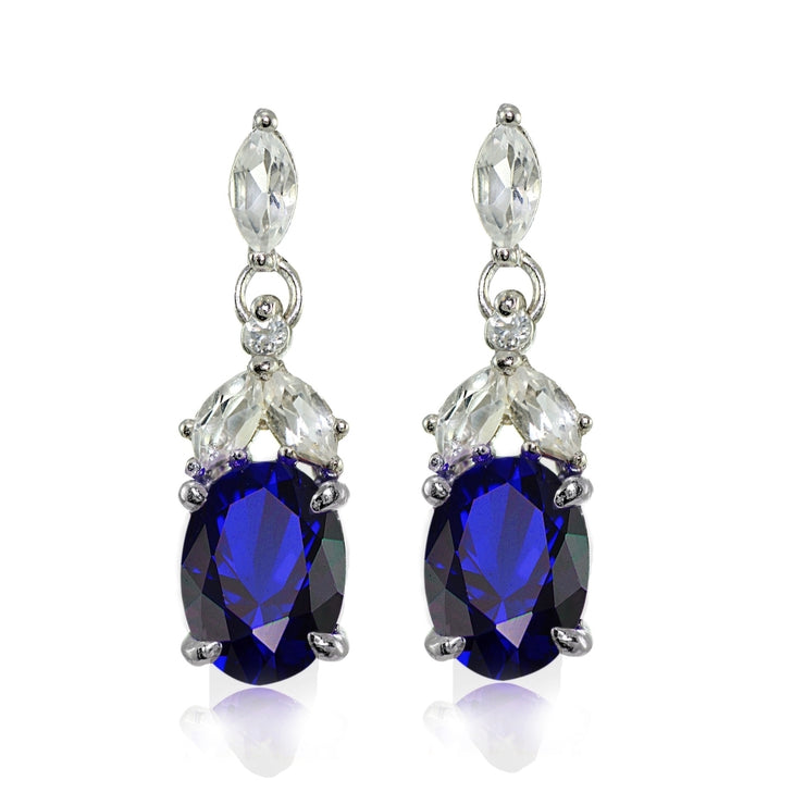 Sterling Silver Created Blue Sapphire and White Topaz Oval Dangle Earrings