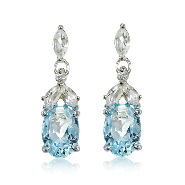 Sterling Silver Blue Topaz and White Topaz Oval Dangle Earrings