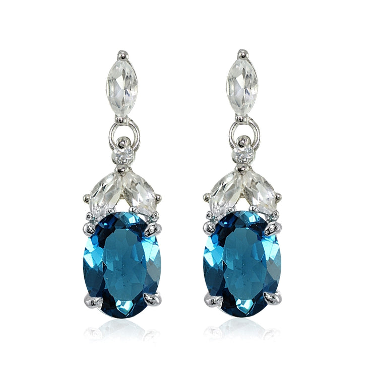Sterling Silver London Blue Topaz and White Topaz Oval Dangle Earrings