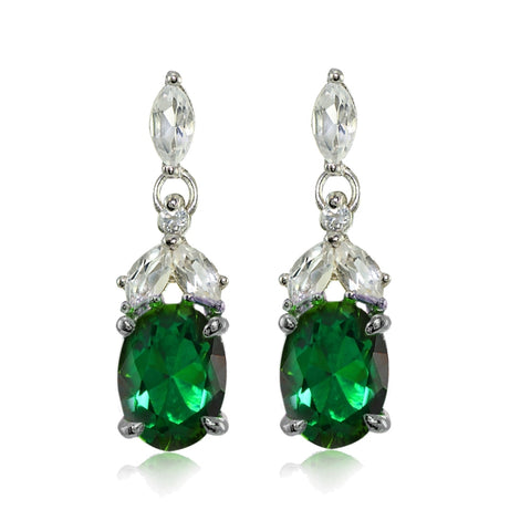 Sterling Silver Created Emerald and White Topaz Oval Dangle Earrings