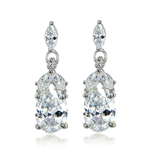 Sterling Silver Cubic Zirconia Oval Dangle Earrings
