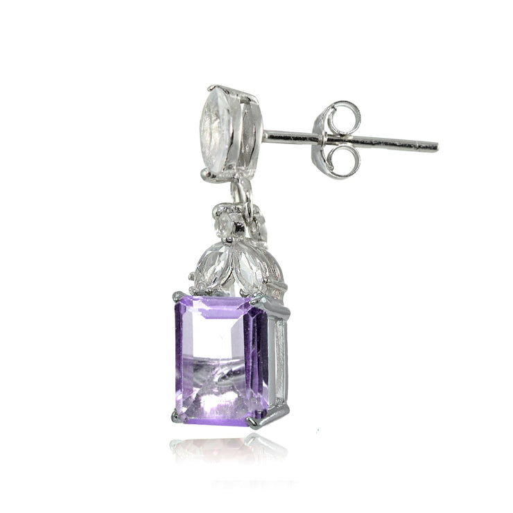 Sterling Silver Amethyst and White Topaz Emerald-Cut Dangle Earrings
