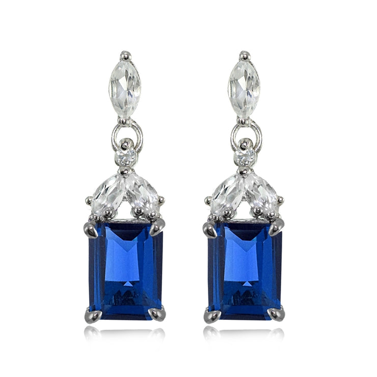 Sterling Silver Created Blue Sapphire and White Topaz Emerald-Cut Dangle Earrings