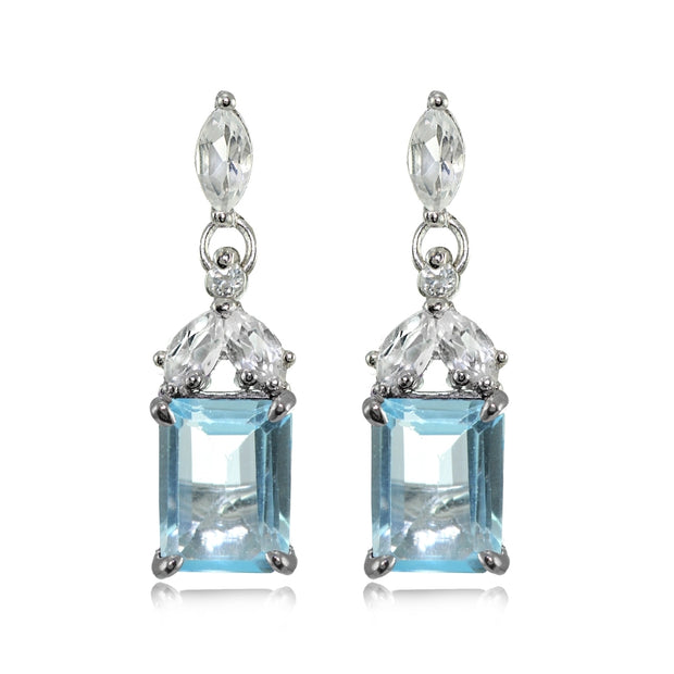 Sterling Silver Blue Topaz and White Topaz Emerald- Cut Dangle Earrings