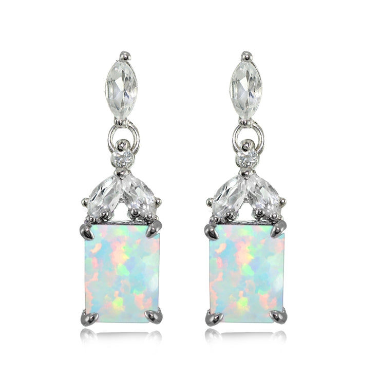 Sterling Silver Created White Opal and White Topaz Emerald-Cut Dangle Earrings