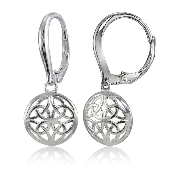 Sterling Silver High Polished Filigree Round Dangle Leverback Earrings