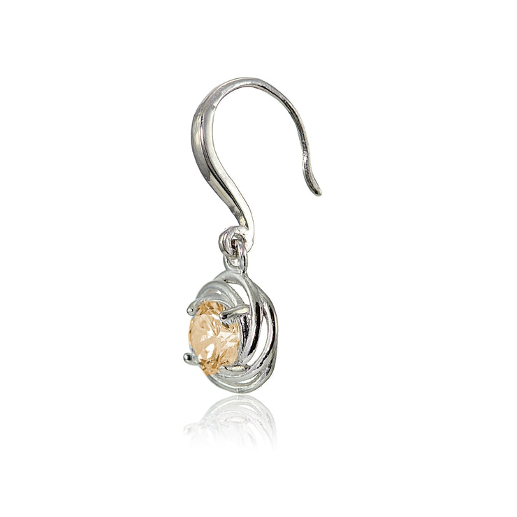 Sterling Silver Champagne Cubic Zirconia Love Knot Dangle Earrings