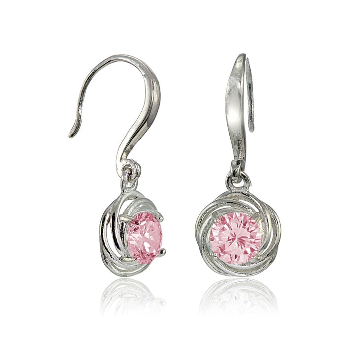 Sterling Silver Light Pink Cubic Zirconia Love Knot Dangle Earrings