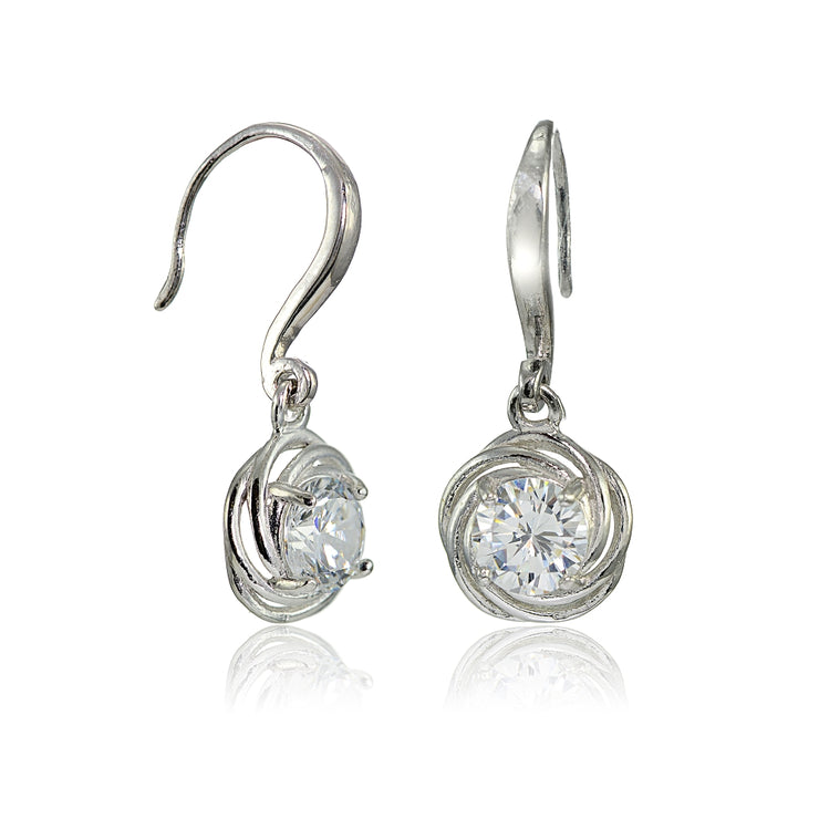 Sterling Silver Cubic Zirconia Love Knot Dangle Earrings