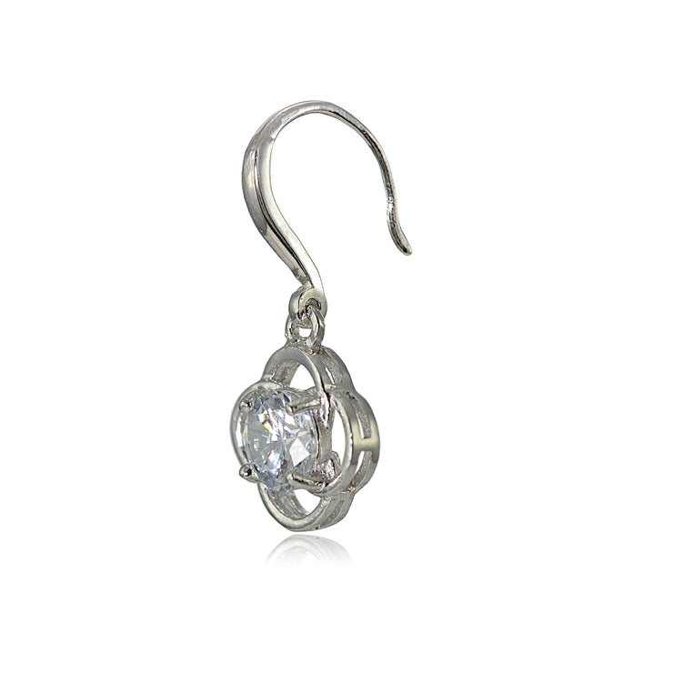 Sterling Silver Cubic Zirconia Flower Knot Dangle Earrings