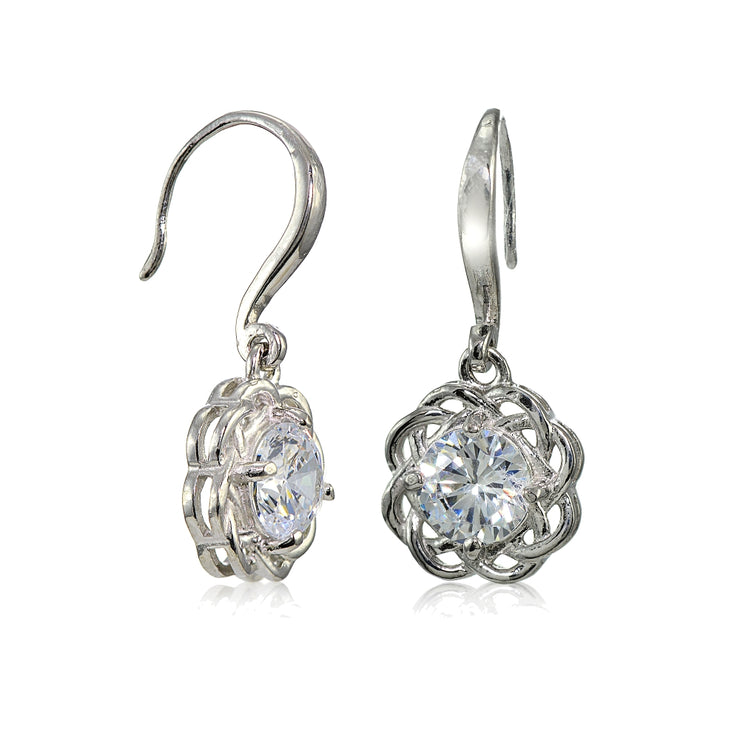 Sterling Silver High Polished Cubic Zirconia Celtic Love Knot Dangle Earrings
