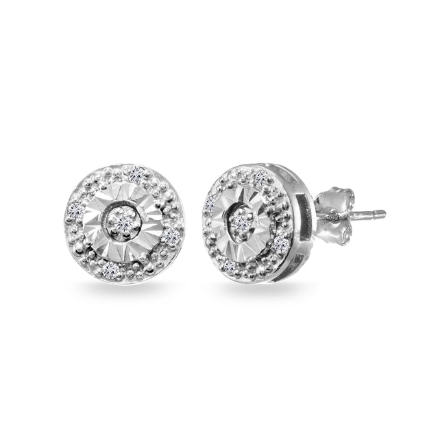 Sterling Silver .10ct Diamond Miracle-Set Round Stud Earrings