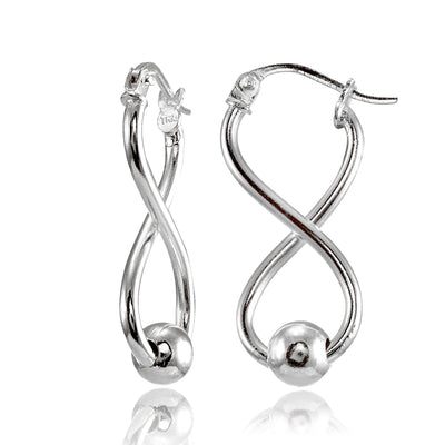 Sterling Silver Infinity Figure Eight Bead Drop Earrings