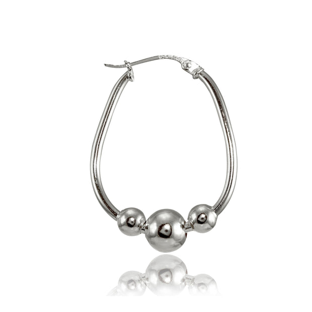 Sterling Silver Polished Beaded Hoop Earrings, 18mm