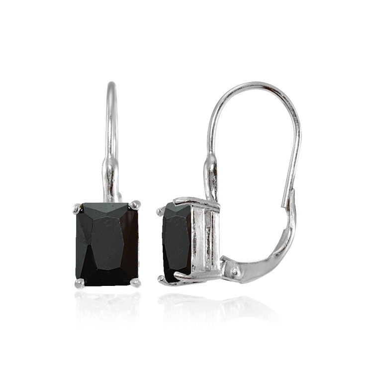 Sterling Silver Black Cubic Zirconia Emerald-Cut Leverback Earrings