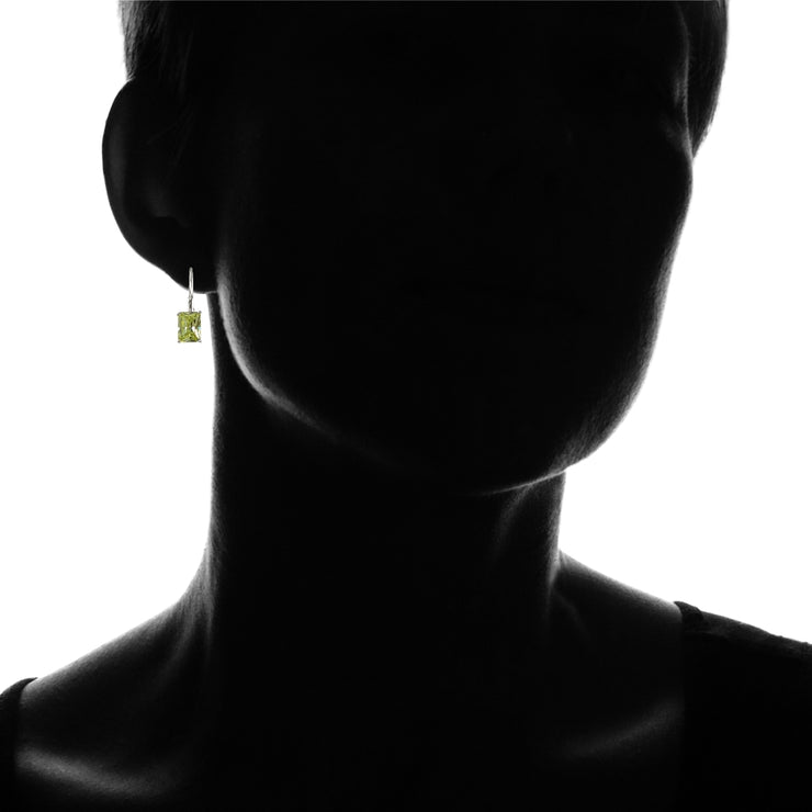 Sterling Silver Emerald-Cut Light Green Cubic Zirconia Leverback Earrings
