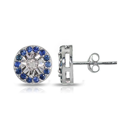 Sterling Silver Genuine Blue Sapphire and Diamond Accent Illusion-Set Stud Earrings