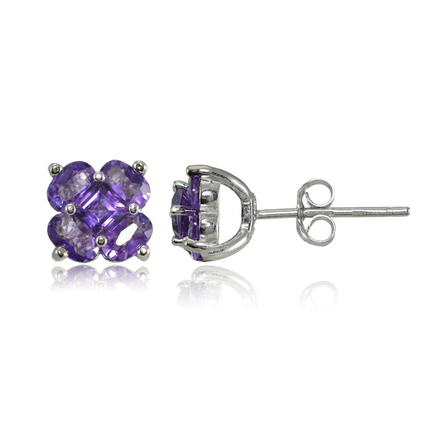 Sterling Silver Amethyst and African Amethyst Flower Stud Earrings