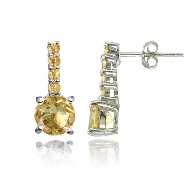 Sterling Silver Citrine 5-Stone Round Drop Earrings