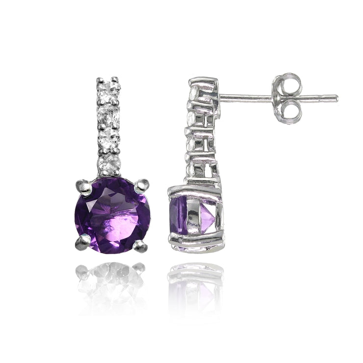 Sterling Silver African Amethyst and White Topaz 5-Stone Round Drop Earrings