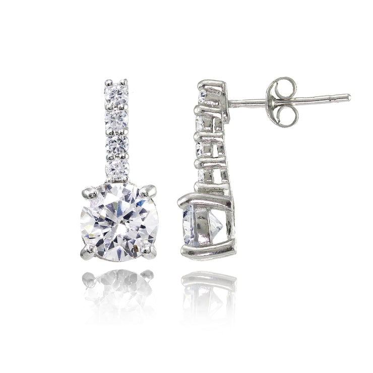 Sterling Silver Cubic Zirconia 5-Stone Round Drop Earrings