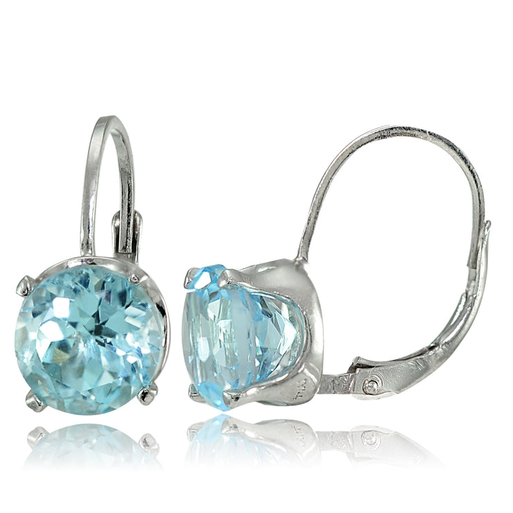 Sterling Silver Blue Topaz 8mm Round Leverback Earrings