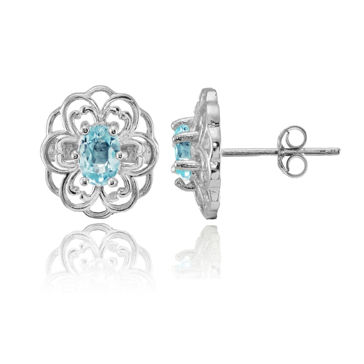 Sterling Silver Blue Topaz Filigree Flower Stud Earrings