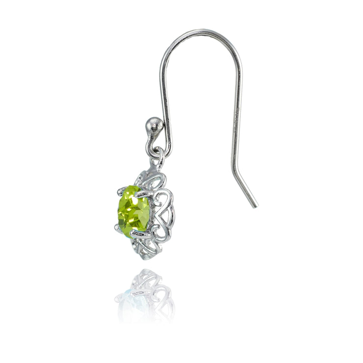 Sterling Silver Peridot Round Filigree Dangle Earrings