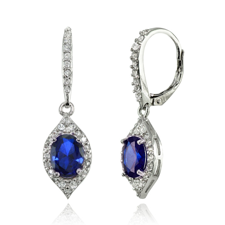 Sterling Silver Created Blue Sapphire and White Topaz Oval Dangle Leverback Earrings
