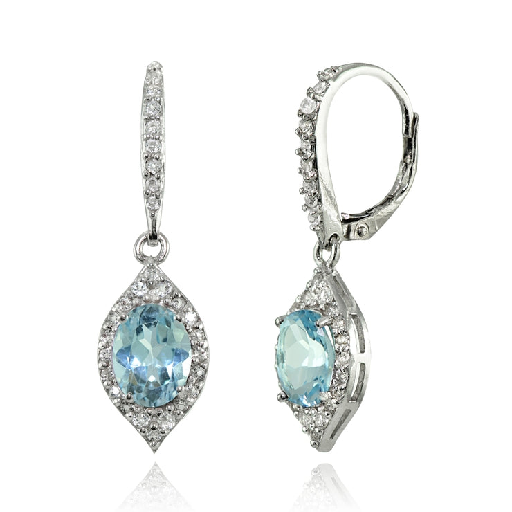 Sterling Silver Blue Topaz and White Topaz Oval Dangle Leverback Earrings