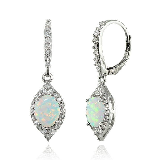 Sterling Silver Created White Opal and White Topaz Oval Dangle Leverback Earrings
