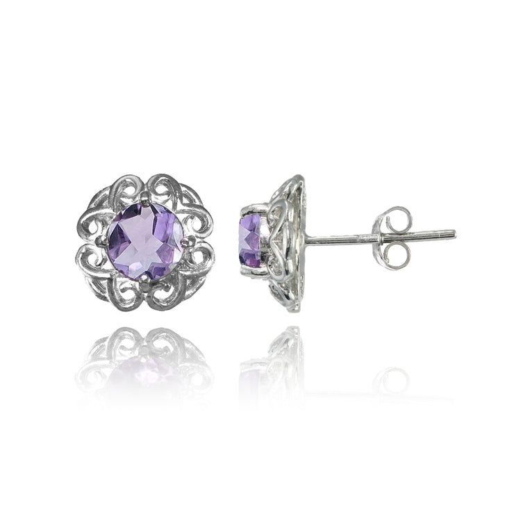 Sterling Silver Amethyst Round Filigree Stud Earrings