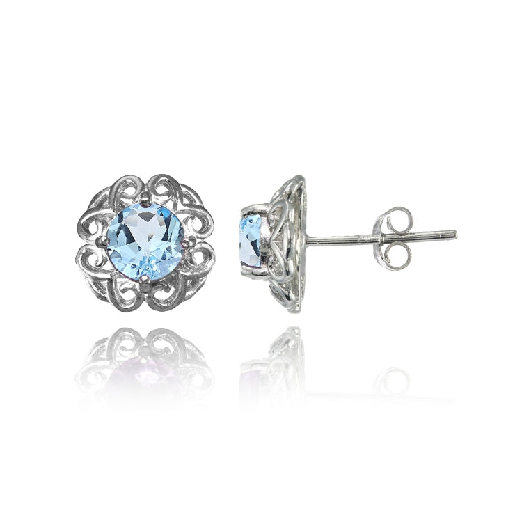 Sterling Silver Blue Topaz Round Filigree Stud Earrings