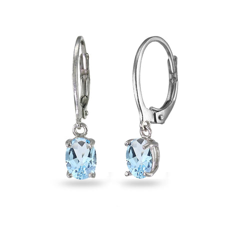 Sterling Silver Blue Topaz 7x5mm Oval Dangle Leverback Earrings