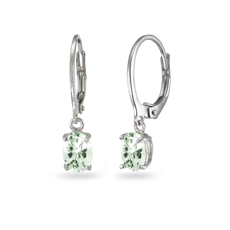 Sterling Silver Green Amethyst 7x5mm Oval Dangle Leverback Earrings