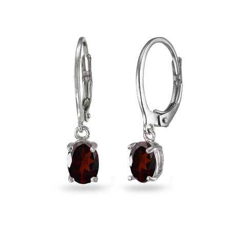 Sterling Silver Garnet 7x5mm Oval Dangle Leverback Earrings